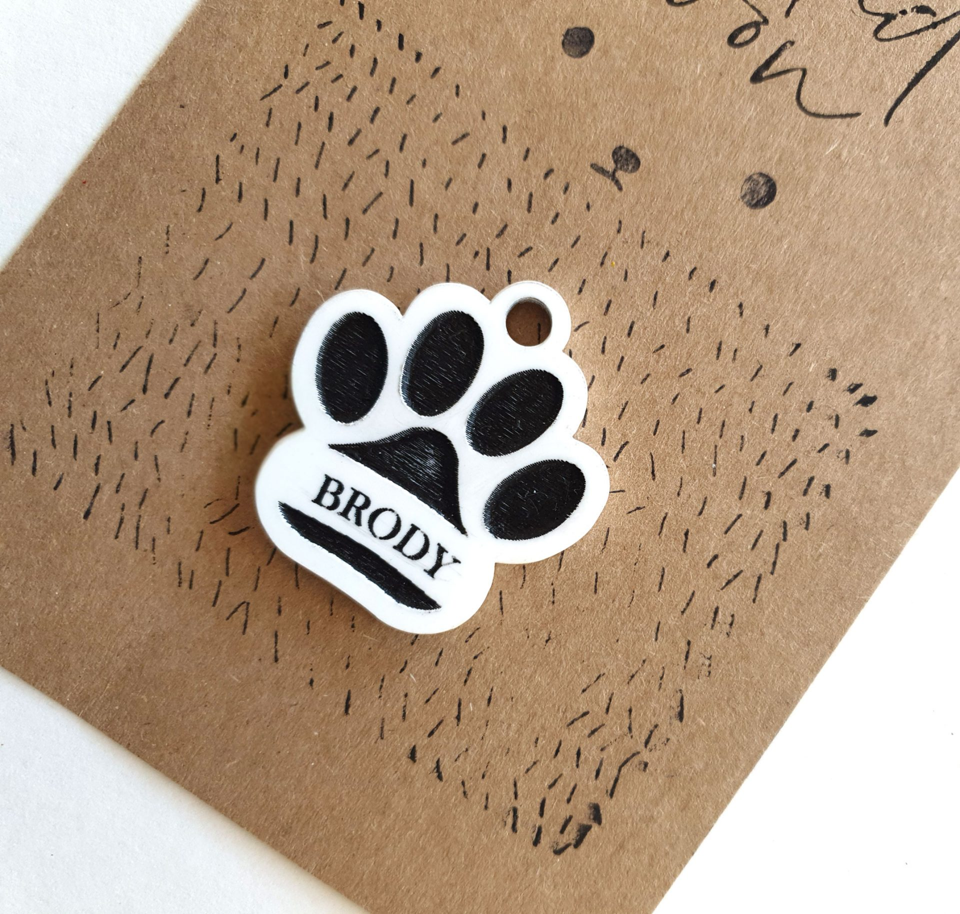 Personalised Acrylic Paw Dog Tag