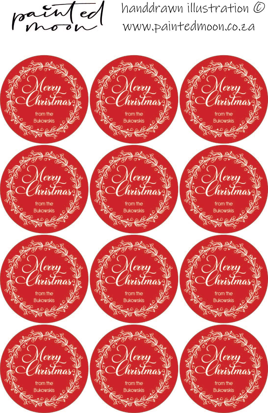 36 Personalised Red Merry Christmas Stickers